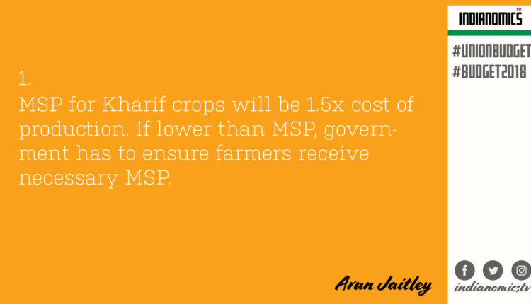 MSP for Kharif crops will be 1.5x cost of production. If lower than MSP, government has to ensure farmers receive necessary MSP.