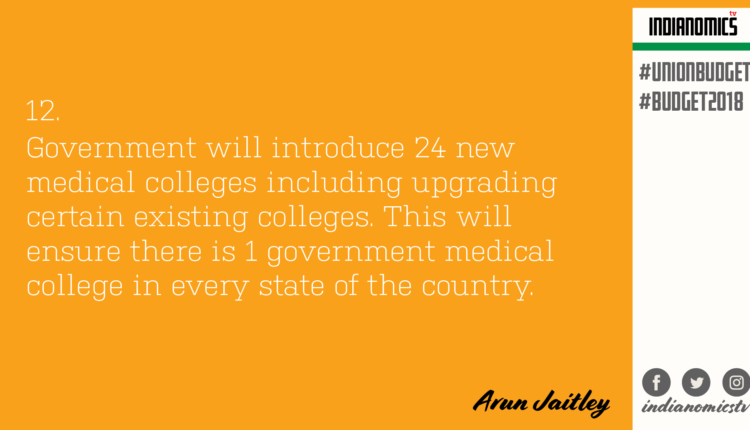 Government will introduce 24 new medical colleges including upgrading certain existing colleges. This will ensure there is 1 government medical college in every state of the country.