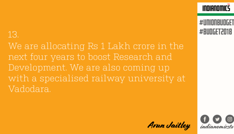 We are allocating Rs 1 Lakh crore in the next four years to boost Research and Development. We are also coming up with a specialised railway university at Vadodara.