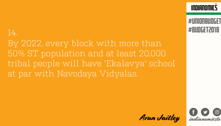 By 2022, every block with more than 50% ST population and at least 20,000 tribal people will have 'Ekalavya' school at par with Navodaya Vidyalas