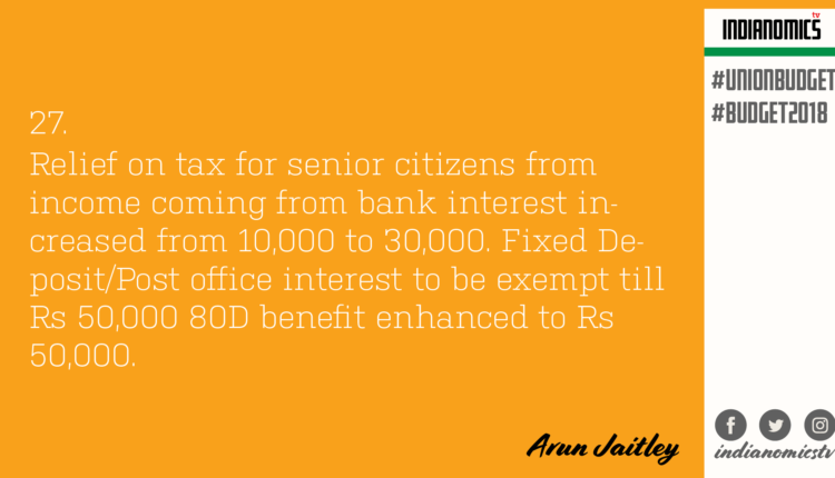 Relief on tax for senior citizens from income coming from bank interest increased from 10,000 to 30,000. Fixed Deposit/Post office interest to be exempt till Rs 50,000 80D benefit enhanced to Rs 50,000.