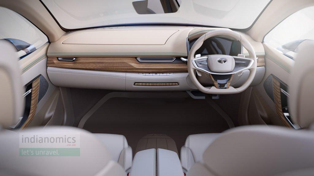 Tata Motors eVision Concept Sedan Car - Interiors (dash screen retracted)
